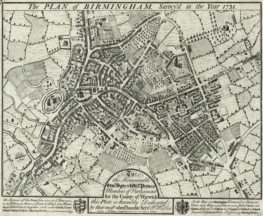 William Westley S Plan Of Birmingham 1731 Revolutionary