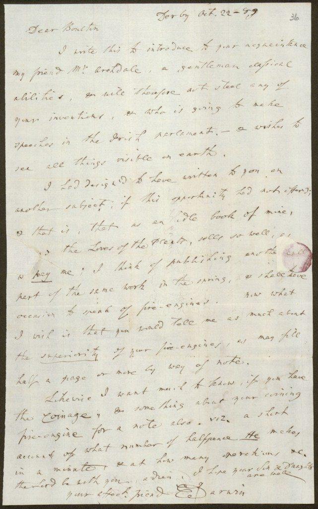 Letter from Erasmus Darwin to Matthew Boulton, 1789/10/22 ...
