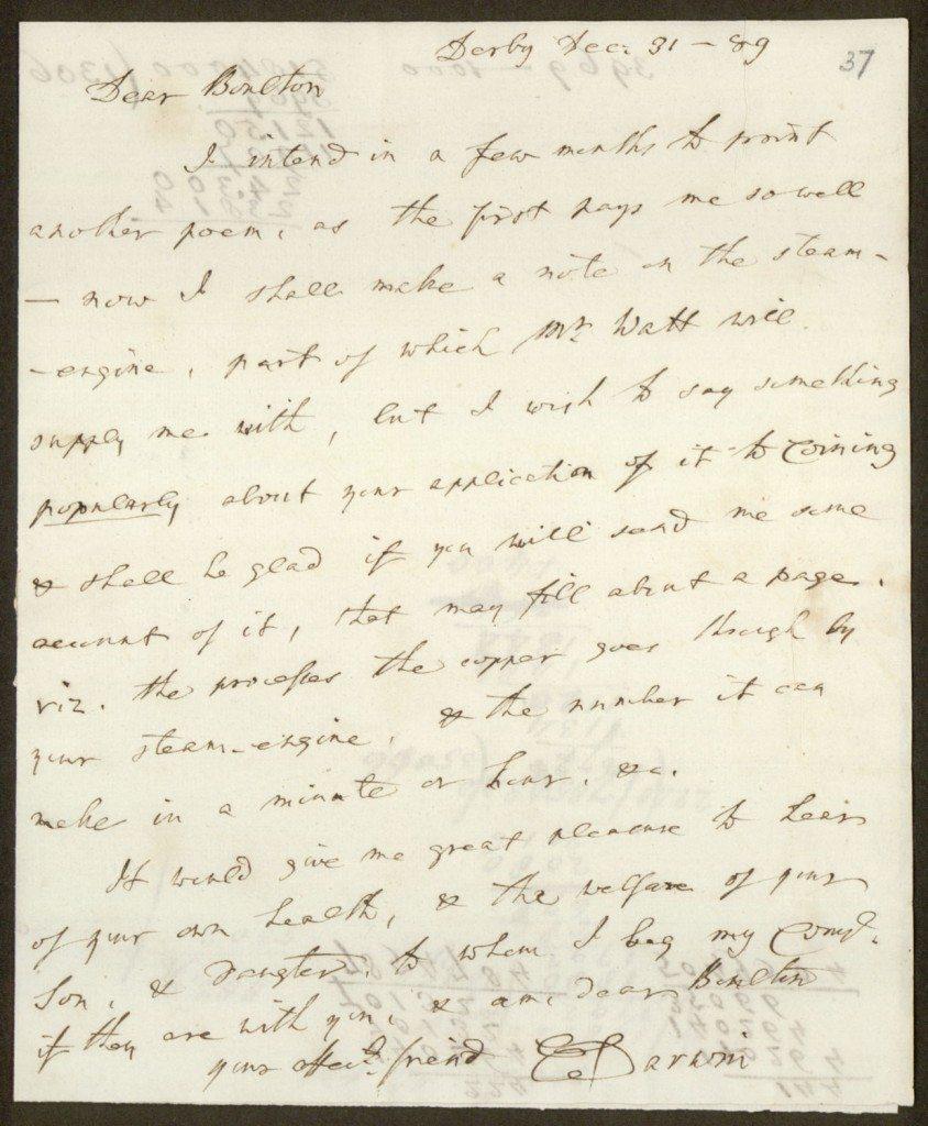 Letter from Erasmus Darwin to Matthew Boulton, 1789/12/31 ...